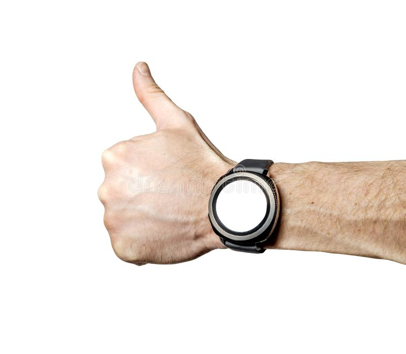 Sports smart watch on athlete`s hand isolated. On white background royalty free stock images