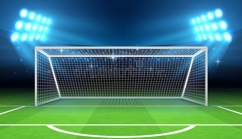 Sports stadium with soccer goal vector illustration. Soccer field and stadium, football arena with gate vector illustration