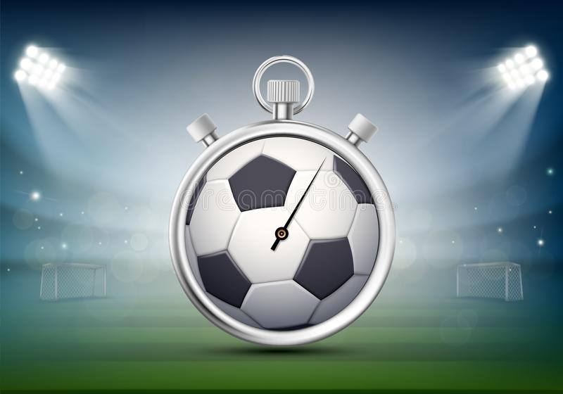 Sports stopwatch with a soccer ball on the stadium lawn royalty free illustration