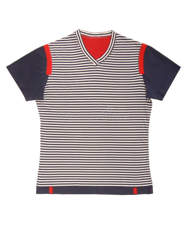 Sports striped shirt is in marine style. stock image