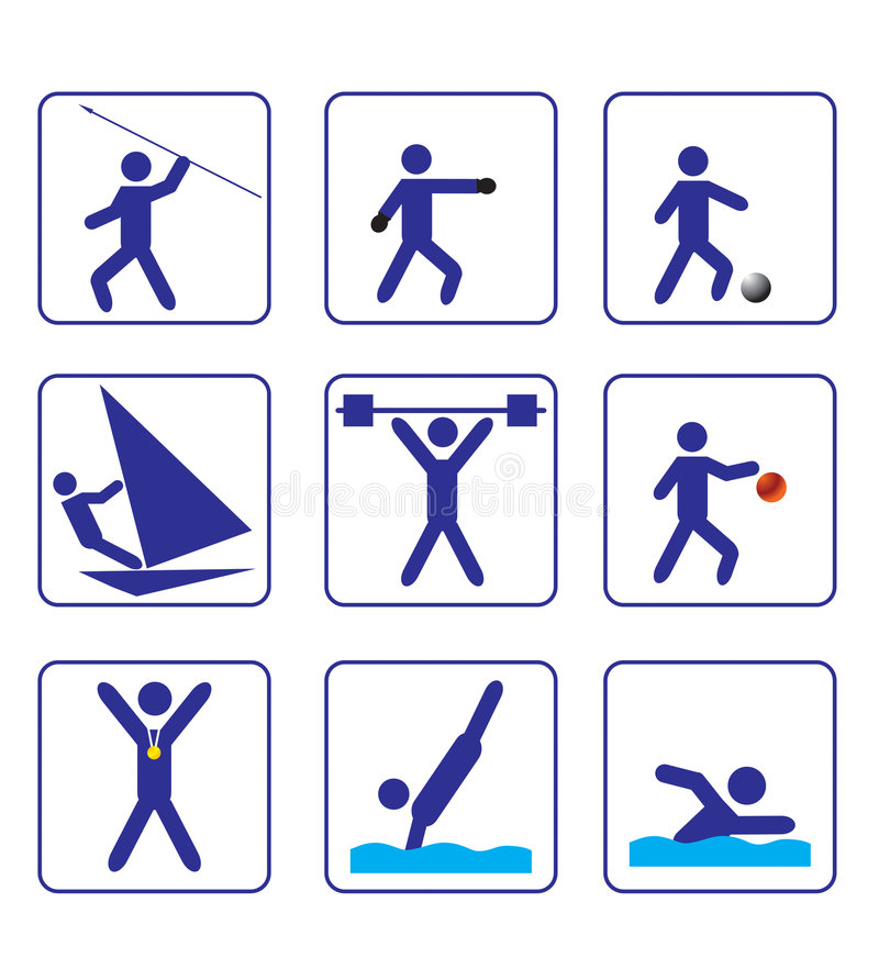 Sports stylize icons set one in vector stock photos