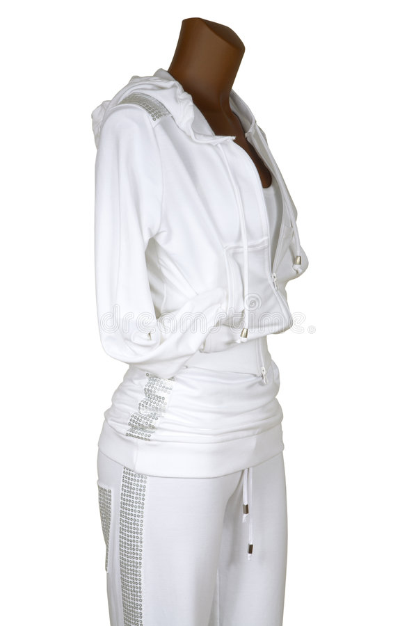 Sports suit with a hood. Female sports suit with a hood on a white background stock images