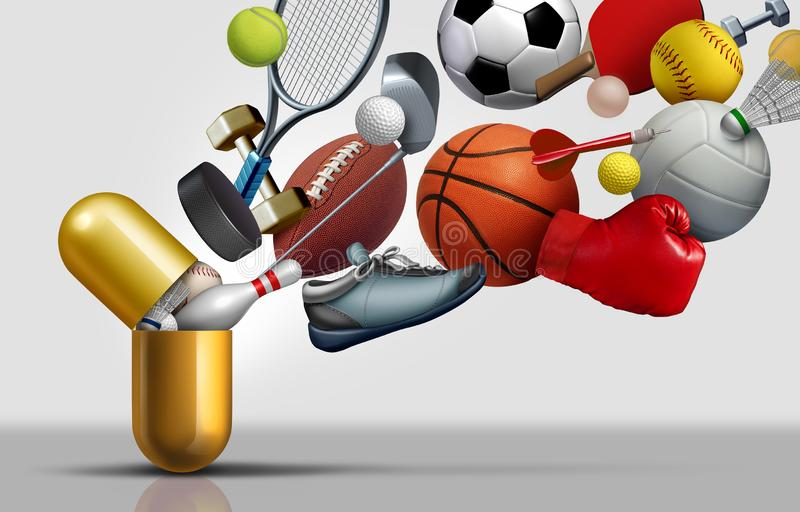 Sports Supplements And Exercise Vitamins. Sports supplements and sport vitamins concept as a capsule with football soccer basketball and exercise equipment vector illustration