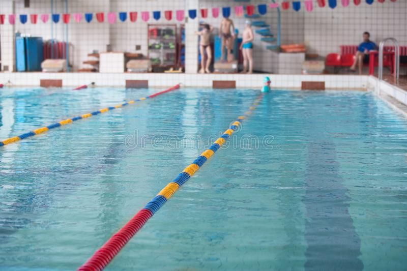 Sports Swimming Pool. Swimming pool before the competition stock photo