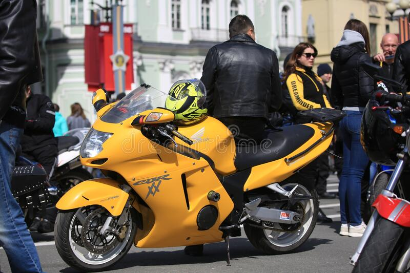 Sports and tourist motorcycle Honda CBR1100XX Blackbird. Palace Square royalty free stock images