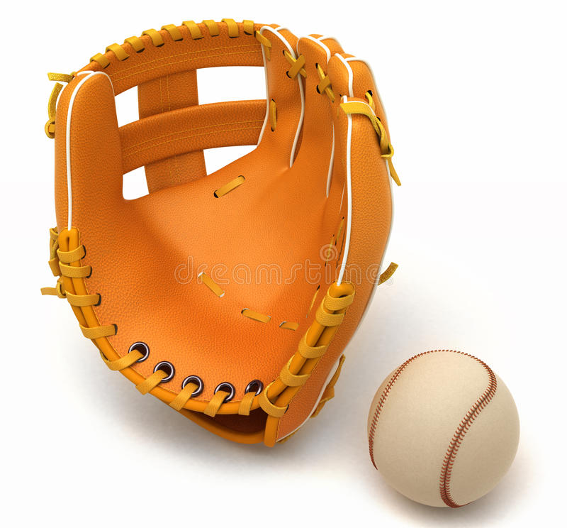 Sports in USA: baseball glove and ball royalty free illustration
