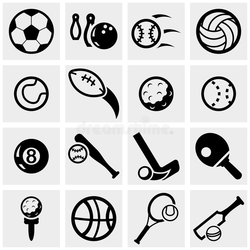 Sports vector icons set on gray. stock illustration