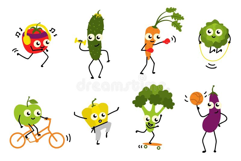 Sports vegetables set of various cute cartoon characters doing exercises and having fun isolated on white background. Vector illustration for healthy and stock illustration