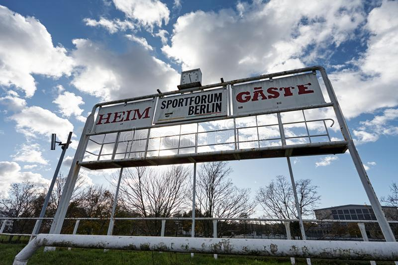 Sports Vintage Stadium Scoreboard under a blue cloudy sky stock photography