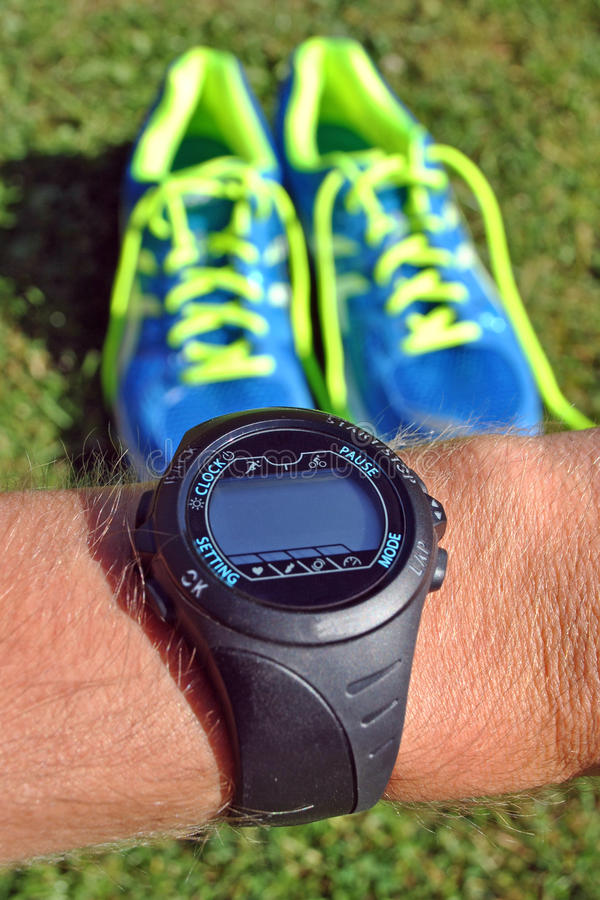 Download Sports watch for runners stock image. Image of shoe, green - 26521149