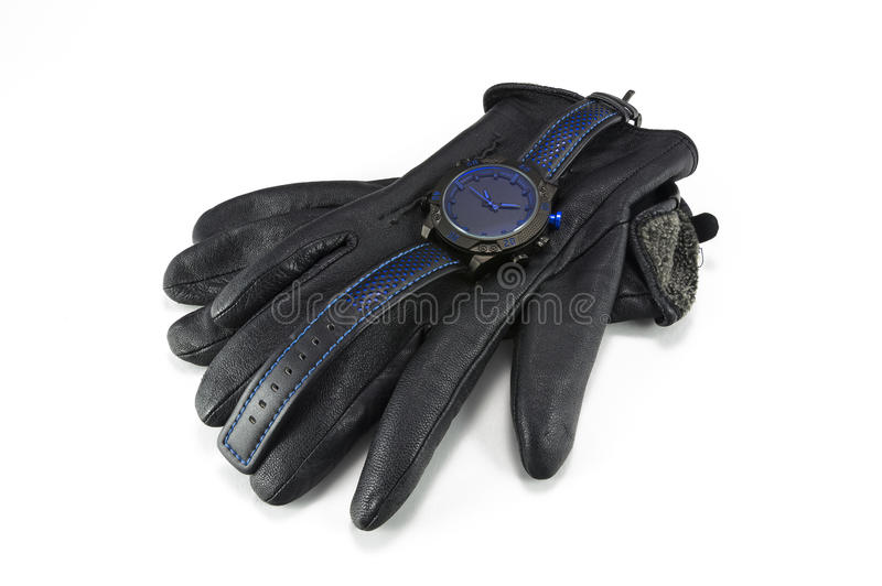 Sports watches and leather gloves for men royalty free stock photo