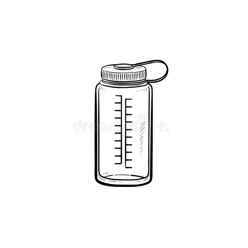 Sports water bottle hand drawn outline doodle icon. royalty free illustration