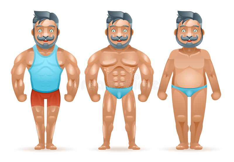 Before after sports weight loss bodybuilder muscular fat man happy characters isolated 3d cartoon design vector stock illustration