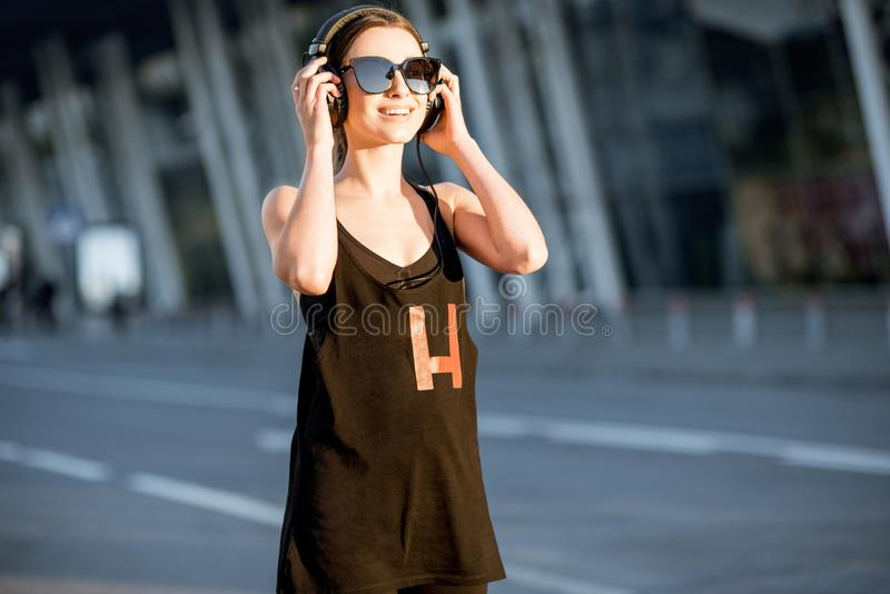 Sports woman portrait during the morning exercise royalty free stock images