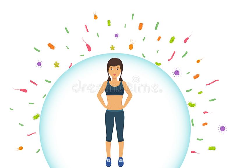 Sports woman reflects bacteria. Protecting immune system from bad bacteria. Barrier against viruses. stock illustration