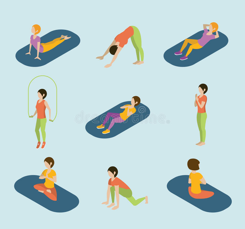Sports Women Yoga Gym Gymnastics Workout Exercise. Flat 3d web isometric infographic vector. Icon set of young girls on carpets balls skipping rope. Creative royalty free illustration