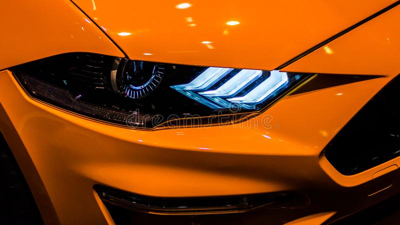 Sportscar światło reflektorów fotografia stock