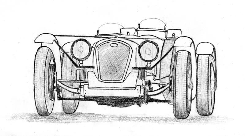 Sportscar prebellico d'annata royalty illustrazione gratis