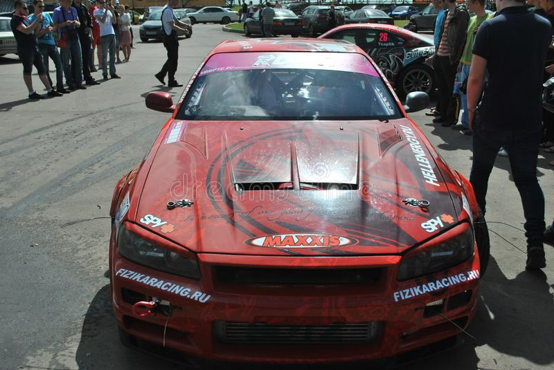 Sportscar tuning Competitions on tuned cars in drift rds royalty free stock images