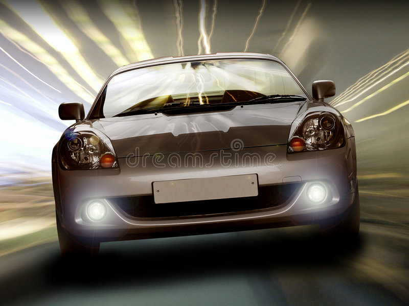 Sportscar in tunnel. Toyota MR2 / MRS roadster sportscar from front in tunnel with moody lighting stock photos
