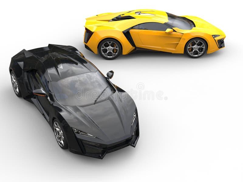 Sportscars bästa sikt - svart och guling stock illustrationer