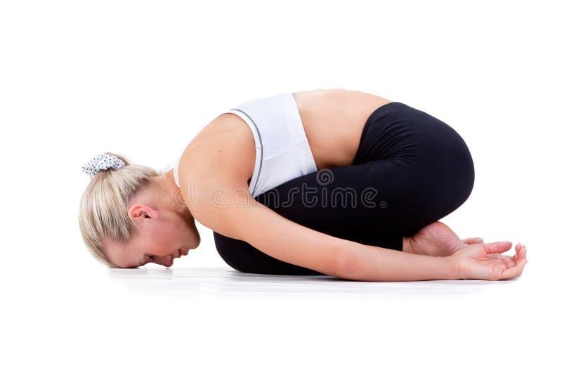 Sportserie: yoga Childs poserar royaltyfri fotografi