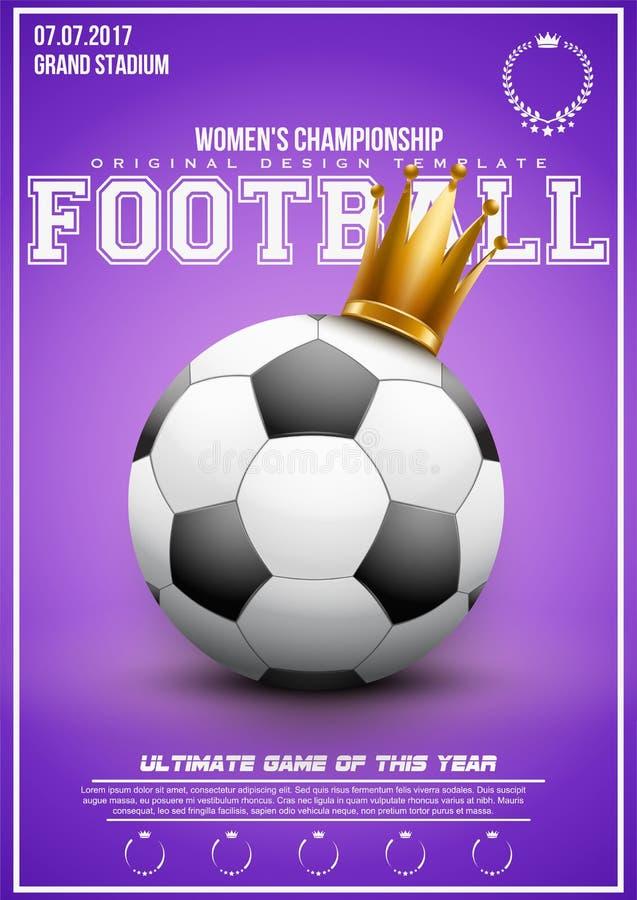 Sportslig affisch av kvinnafotboll royaltyfri illustrationer