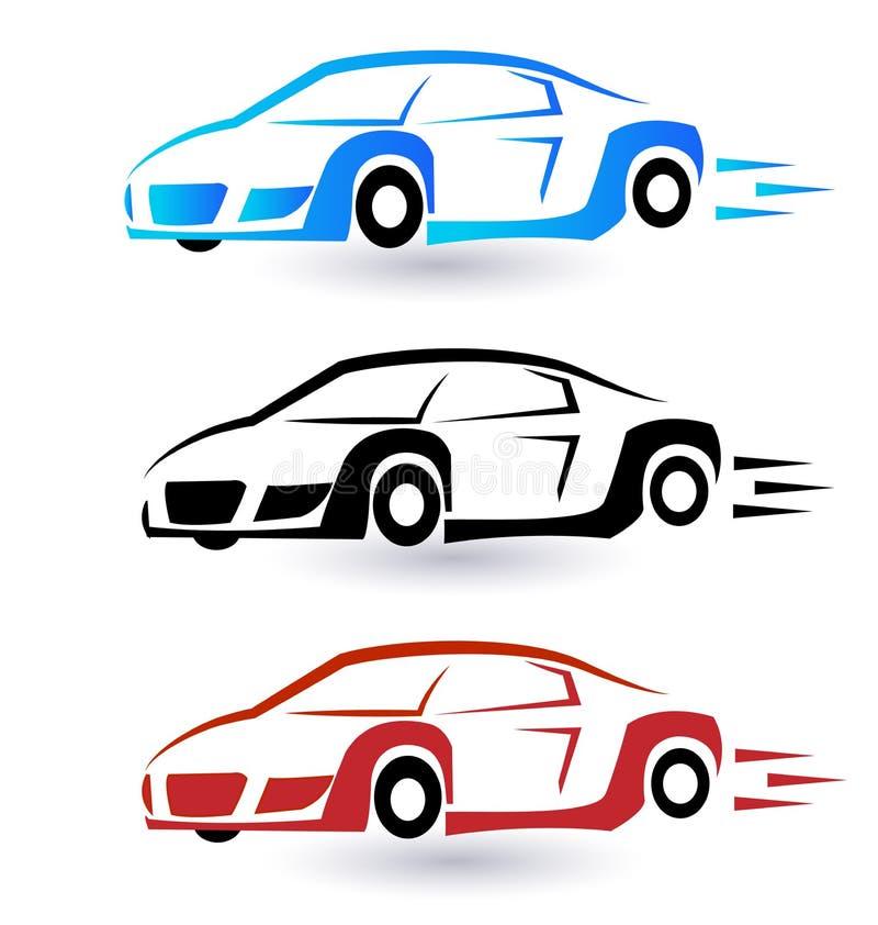 Sportsliga bilar för hastighet stock illustrationer