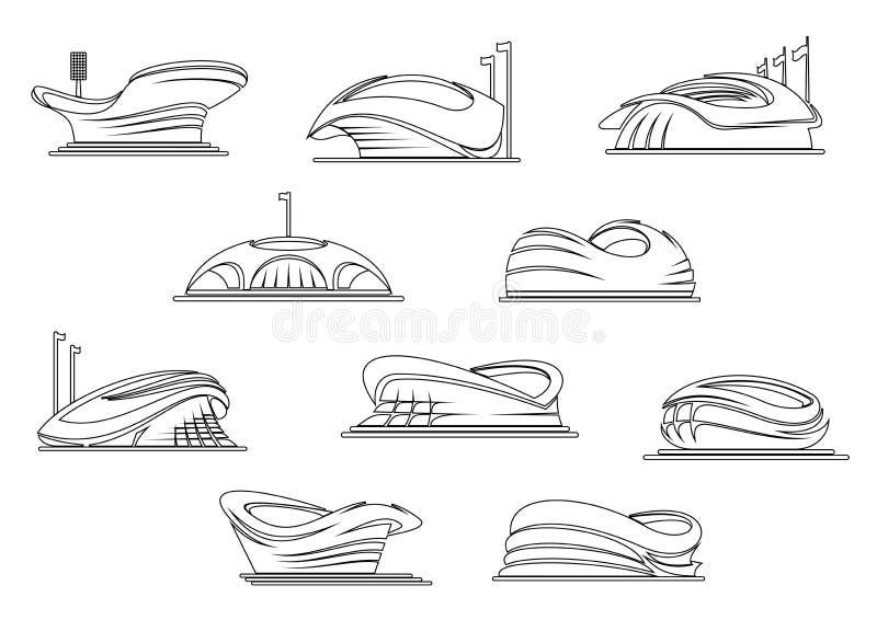 Sportsliga stadion- och arenaöversiktssymboler royaltyfri illustrationer