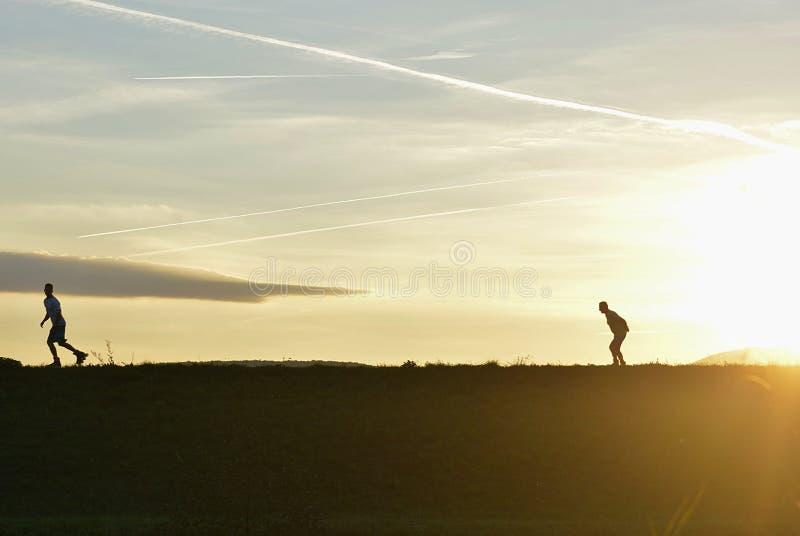Sportsligt i den tidiga aftonen i natur på solnedgången royaltyfri foto