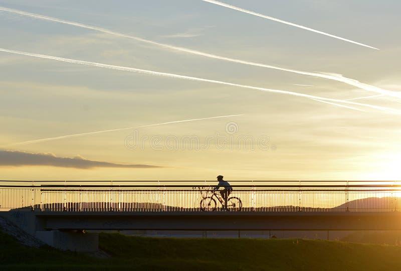Sportsligt i den tidiga aftonen i natur på solnedgången arkivfoto