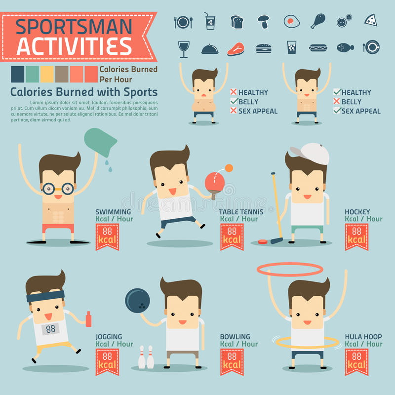 Sportsman activities and calories burned infographics with food stock illustration