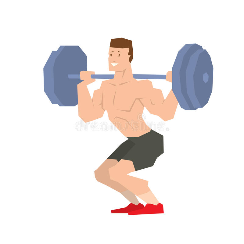 Sportsman barbell vector illustration. Caucasian man lifting a heavy weight barbell. Sportsman doing exercise over his head. Male weightlifter holding tool stock illustration