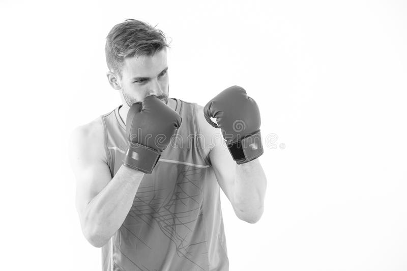 Sportsman in boxing gloves isolated on white background. Trainer or coach man in defense position. Power and energy royalty free stock photography