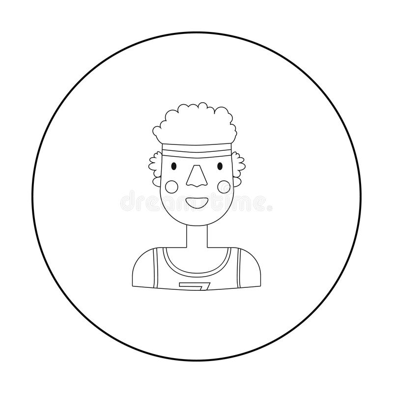 Sportsman icon in outline style isolated on white background. People of different profession symbol stock vector. Sportsman icon in outline style isolated on stock illustration