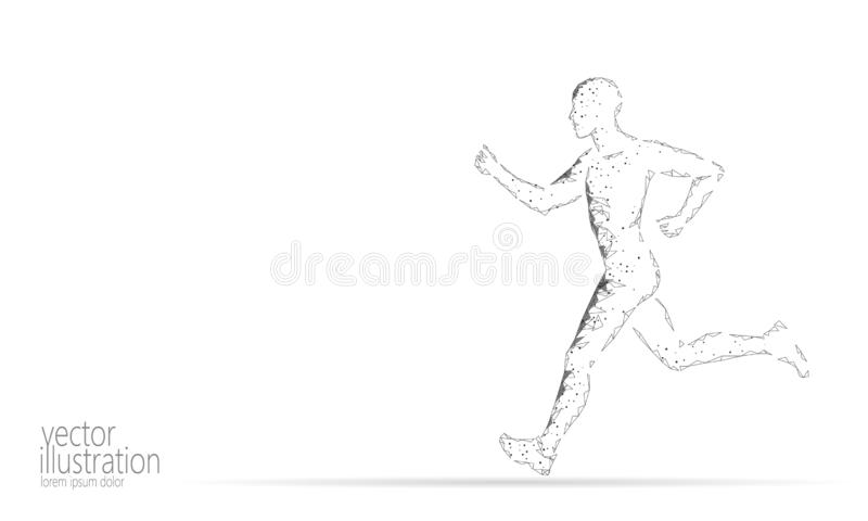 Sportsman run exercise fitness healthy lifestyle concept. Low poly man silhouette jogging fit marathon. Muscular body. Shape workout vector illustration royalty free illustration