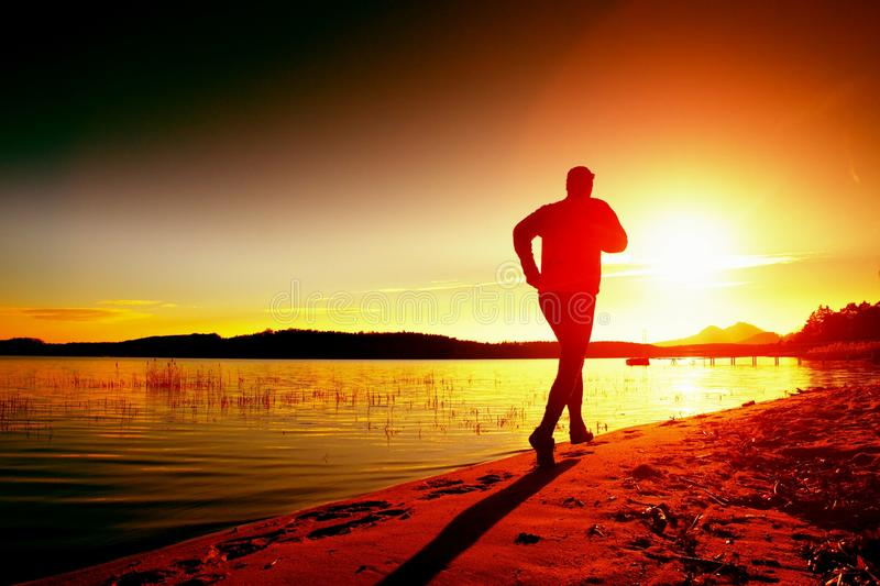 Sportsman running at amazing summer sunset along coastline in sport and healthy life style. Sportsman running at amazing summer sunset along coastline in sport royalty free stock image