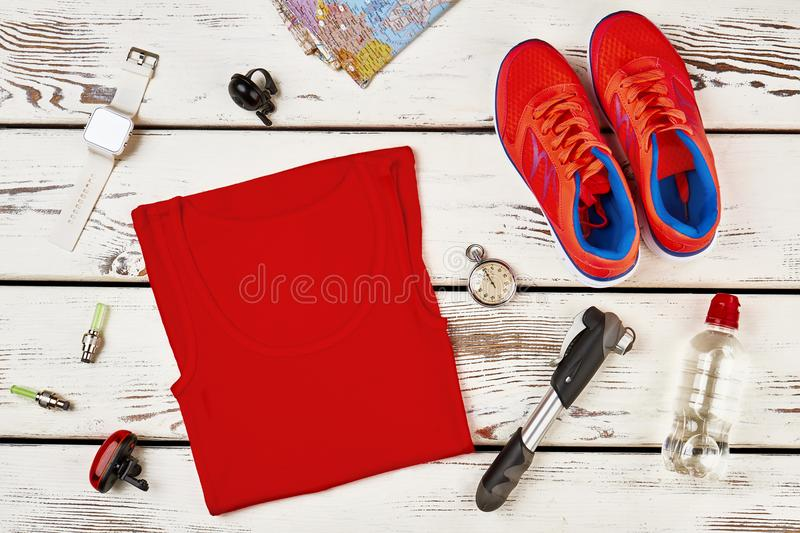 Sportsman`s clothes and sneakers stock photos
