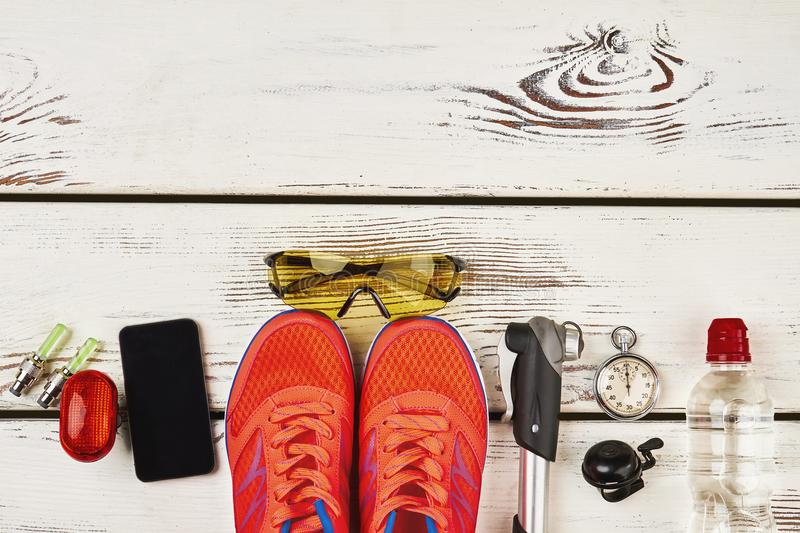 Sportsman`s equipment, footwear and gadgets royalty free stock photo