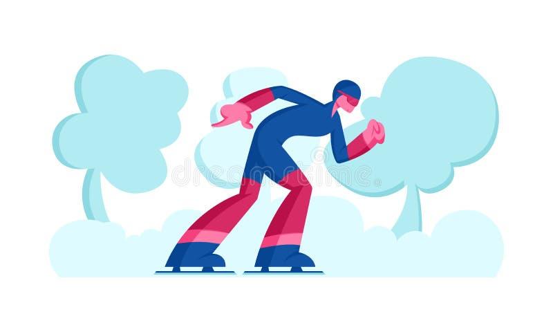 Sportsman Skater i sportkläder och Helmet deltar i Hastighet Skating eller Short Track Competition Moving Fast by Stadium vektor illustrationer