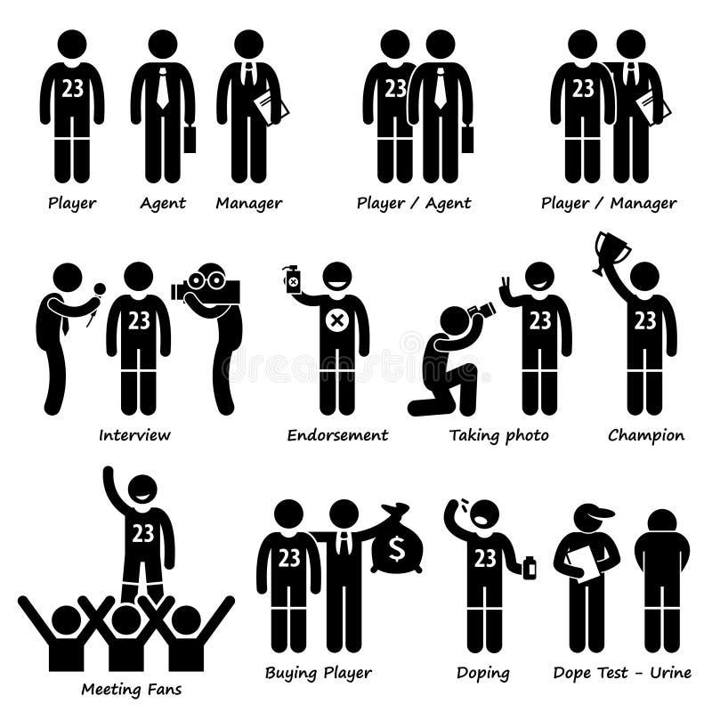 Sportsman Sport Player Management Cliparts stock illustration