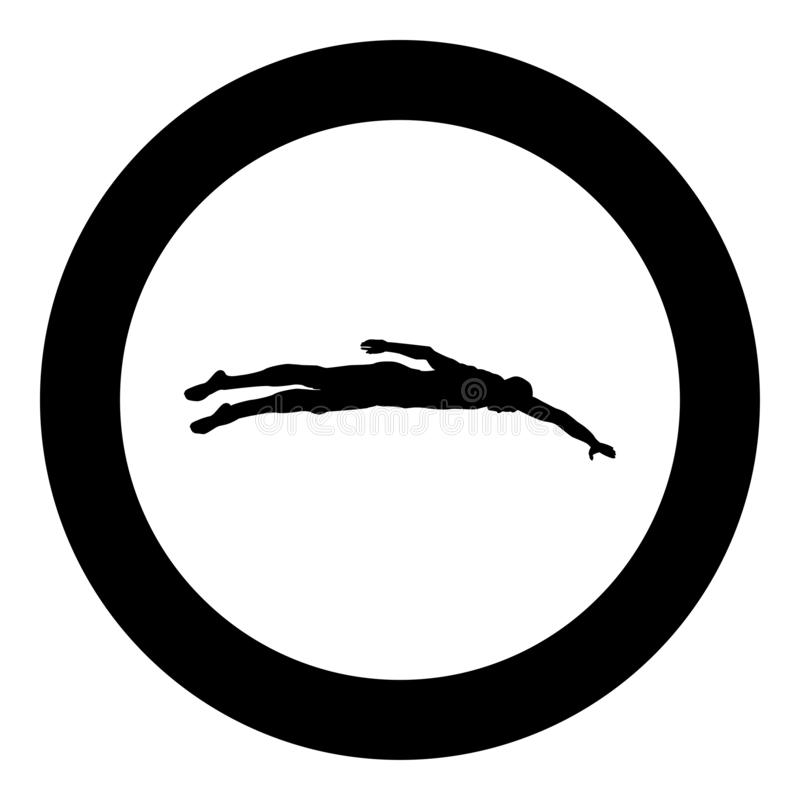 Sportsman swimming Man floats crawl silhouette icon black color illustration in circle round. Sportsman swimming Man floats crawl silhouette icon black color vector illustration