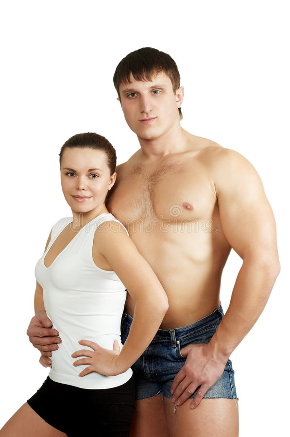 Sportsman is wrung out. The beautiful woman and strong man after training stock photography