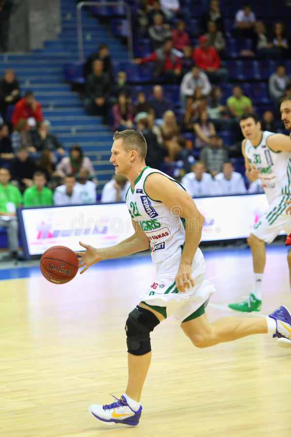 Sportsman From Zalgiris Team Runs Basketball Editorial Photography