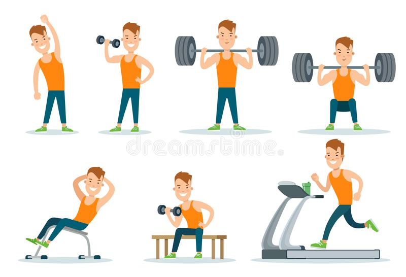 Sportsmen pumping iron and exercise in gym icon se. Sportsmen pumping iron gym workout exercise flat web infographic . Icon set of running treadmill horizontal stock illustration