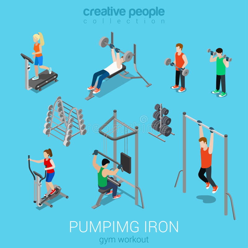 Sportsmen pumping iron and exercise in gym icon set. Sportsmen pumping iron gym workout exercise flat 3d web isometric infographic vector. Icon set of running royalty free illustration