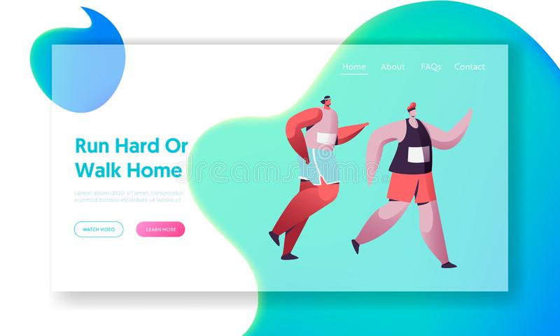 Sportsmen Running Marathon Distance. Sport Jogging Competition. Athlete Sprinters Healthy Run in Morning, Active Lifestyle. Website Landing Page, Web Page royalty free illustration
