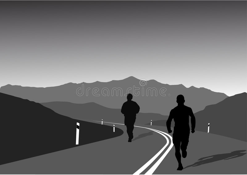 Download Sportsmen Running On Mountain Stock Vector - Image: 4114211