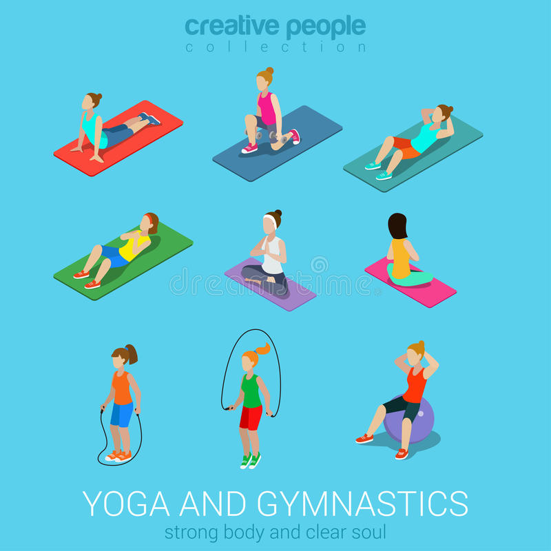 Sportsmen women yoga and exercise in gym icon set. Sports women yoga gym gymnastics workout exercise flat 3d web isometric infographic vector. Icon set of young stock illustration
