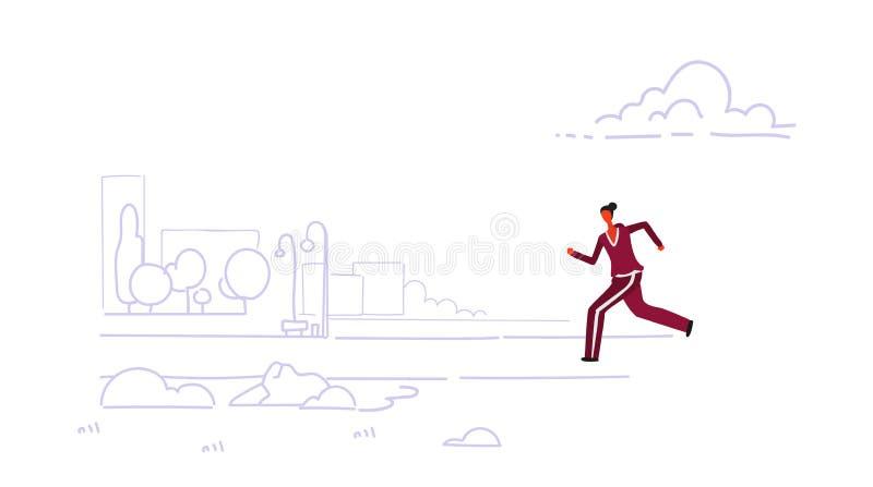 Sportsmenka biegacza jogging kobieta biega plenerowego miasto pejzażu miejskiego miastowego parkowego tła styl życia pojęcia zdro ilustracji